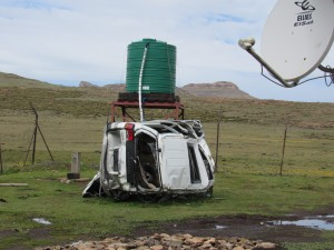 Car wrecked on the Sani Pass