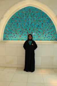 Me in an abaya at the Grand Mosque
