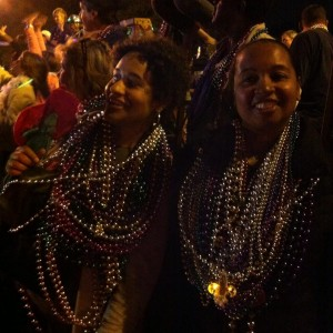 Collecting beads at Mardi Gras